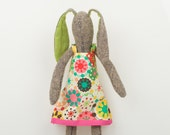 Easter Girl Rabbit made from knitted silk With green ears - Wearing spring colorful retro dress  -handmade fabric doll