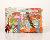 Recycled Zipper Pouch , Pencil Case- Colorful scraps from the studio With Purple Lilac   zipper- Handmade