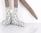 Soft doll - knitted silk  Mouse Wearing Pale blue  dotted socks- handmade fabric doll