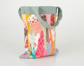 Recycled Small Tote Shoulder Bag ,Colorful Cotton scraps from the studio With Light Blue handle - Handmade