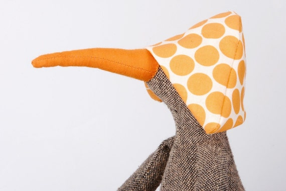 Knitted silk Bird, duck or maybe a penguin...Deep yellow dotted hat and gray jeans handmade doll