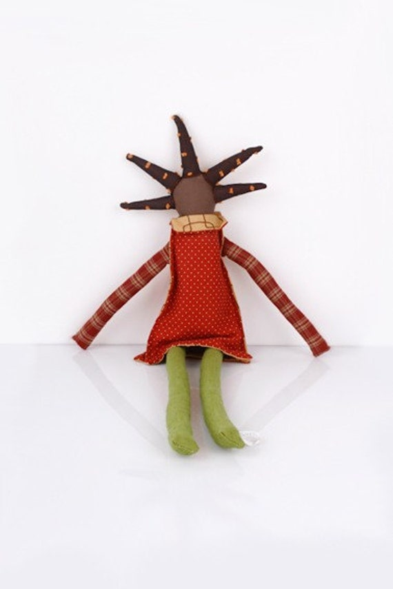 Really cool Red brown handmade doll
