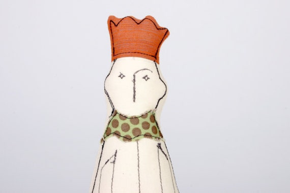 Friendly King With Yellow crown and touches of light Green handmade fabric doll