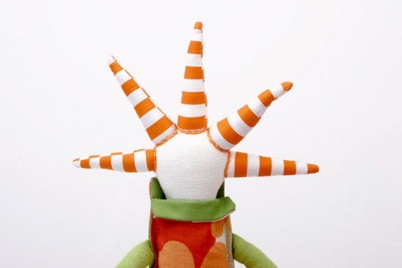 Bright funky handmade doll With coll Haircut in green and orange-Floral and striped