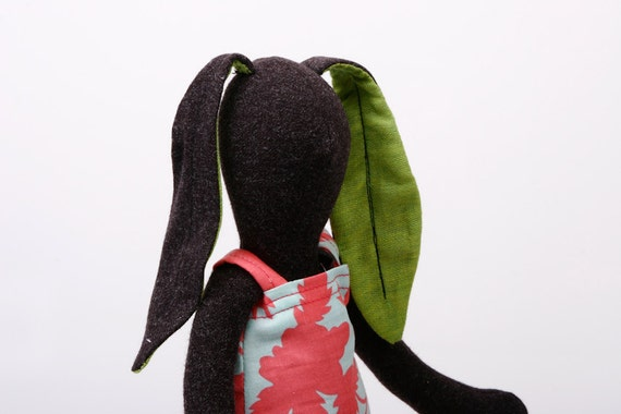 Easter Bunny - Dark Soft bunny in  Green ears Wearing Turquoise and pink flowers Dress  -handmade fabric doll