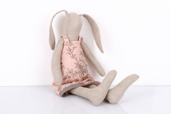 Bunny made  from Light Natural canvas  dressed in light pink dress With  floral-print ,handmade fabric doll