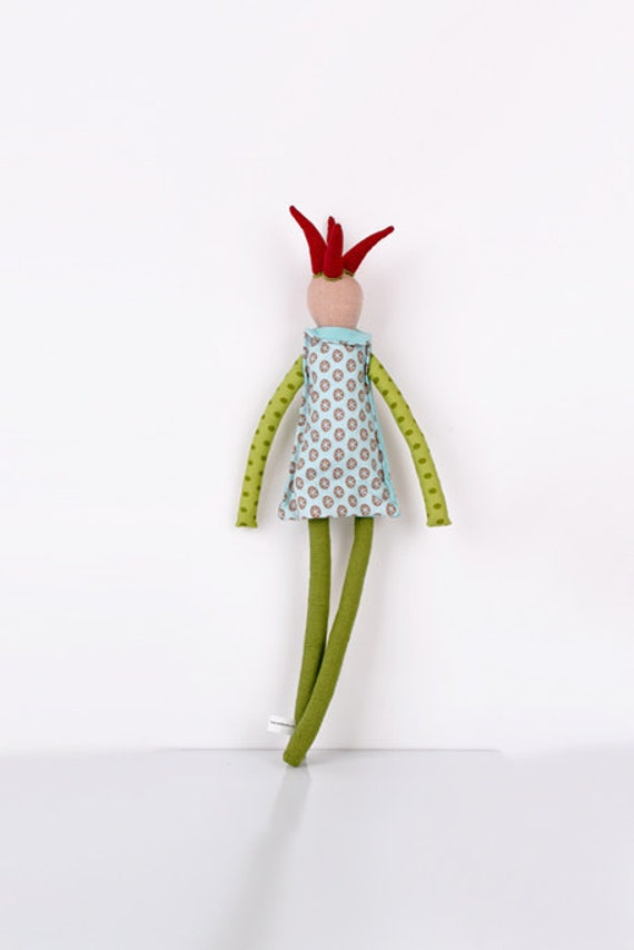 Clown doll in light blue, green and maroon-Flowers, dots, and stripes- handmade fabric doll