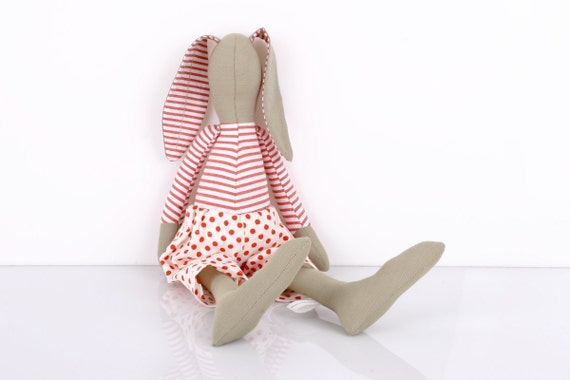handmade fabric doll - boutiqe Olive Green rabbit in White & red stripes Shirt Wearing  white  pants With red  polka dots free shipping