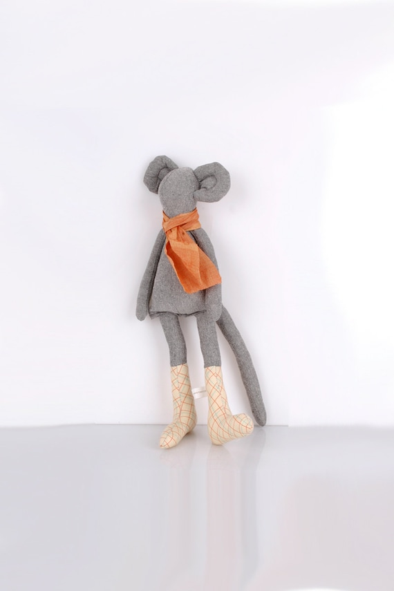 Autumn Mouse :Light Gray Mouse Wearing Light yellow Checkered socks and  Orange scarf -handmade fabric doll