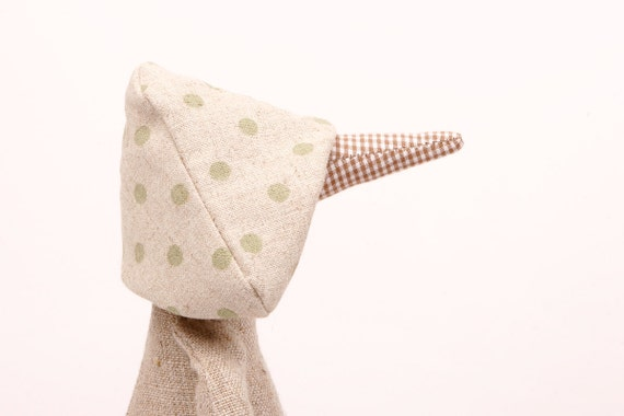 Reserved for Dominique  Light Natural canvas duck  With Checkered beak  Wearing Dotted in Light Green  hat and Striped linen Pants