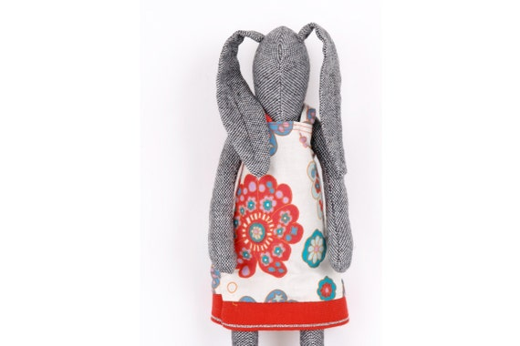 plush gray woolen bunny doll  Wearing Retro  floral dress in red and Blue - handmade doll