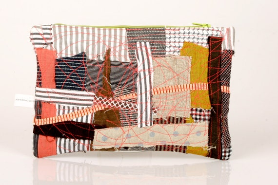 Recycled Zipper Pouch , Pencil Case- Colorful Earth tones scraps from the studio With Neon green   zipper- Handmade