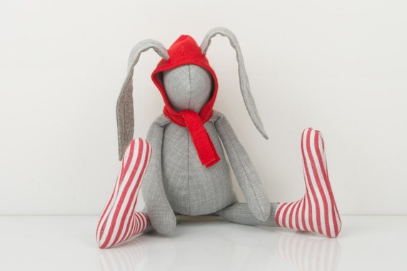 Small  gray rabbit  Wearing  red hood hat  and  striped  red and white socks - handmade fabric doll free shipping