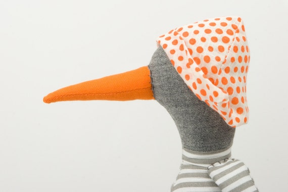 Bird Doll - gray  duck  Wearing White & gray stripes Shirt , jeans  pants  And a white hat with orange dots - handmade