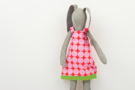 Easter Bunny  - Light gray bunny Wearing a red retro springtime  dress with pink spots   - handmade fabric doll