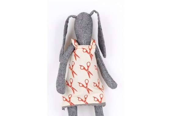 Stuffed bunny , Dark gray Soft rabbit Wearing  white dress with red scissors Print  - handmade fabric doll