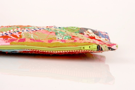 Recycled Zipper Pouch , Pencil Case- Colorful scraps from the studio With Neon green   zipper- Handmade
