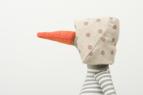 Plush Bird Doll - light Olive Duck Gray and white striped shirt ,corduroy trousers and dotted canvas hat  - handmade