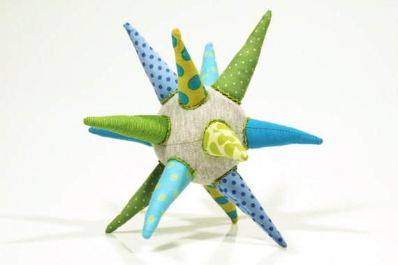 ooak  cloth star - funky light gray ball or Star all handmade in Green, blue, turquoise striped and  polka dots