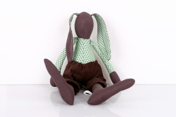 Easter Bunny - African  Brown Rabbit  doll-  Wearing mint shirt Dotted blue and   Brown  Corduroy, handmade cloth doll