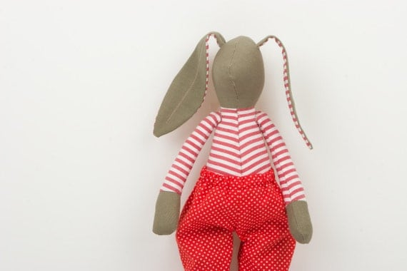 Plush  Easter Bunny  - Olive Green Rabbit in red and white striped shirt Wearing red dotted pants  - fabric handmade doll