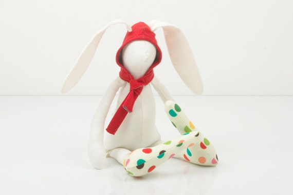 White Small rabbit  Wearing  red Hood hat  and  a colorful polka dots socks - handmade fabric doll free shipping