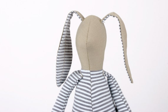 Plush  - Khaki Rabbit in Blue and white striped shirt Wearing gray blue dotted corduroy - fabric handmade doll