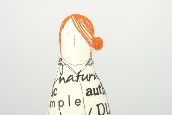 Dear Mom - Miss redhead wearing a white dress with black typography - OOAK Handmade fabric doll