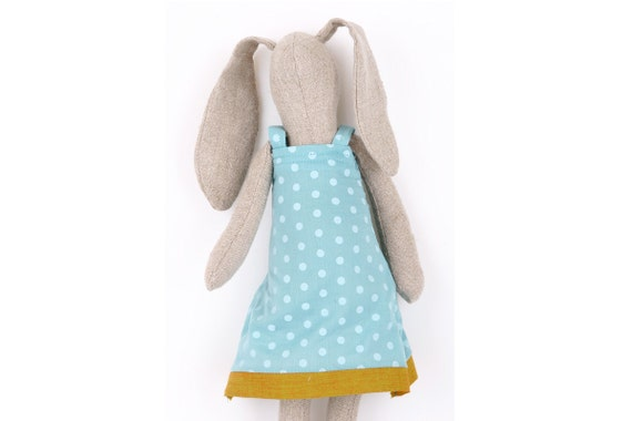 Spring Bunny made  from Light Natural canvas  dressed in light turquoise dotted dress ,handmade fabric doll