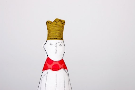 Shy prince or King With Yellow mustard crown Wearing pink with dots color- handmade fabric Friendly doll