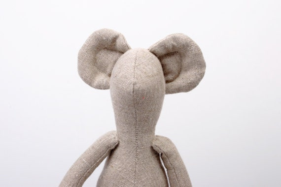 Natural Canvas Mouse - Unique Eco Friendly handmade doll