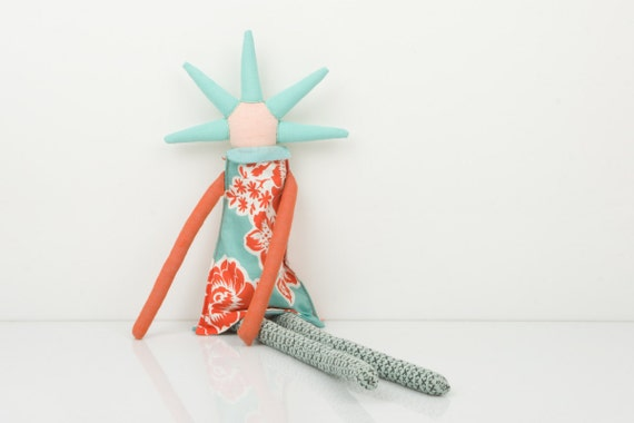 Plush - funky handmade doll With coll Haircut in  Natural earth tones,Blue, turquoise, orange and red flowers