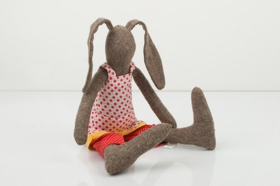 Brown  bunny Wearing white dress With little red flowers and Dotted red pants under - handmade fabric doll free shipping