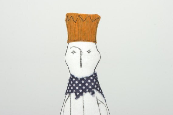 King With Yellow mustard crown Wearing Burgundy with blue dotted color and jeans - handmade fabric Friendly doll