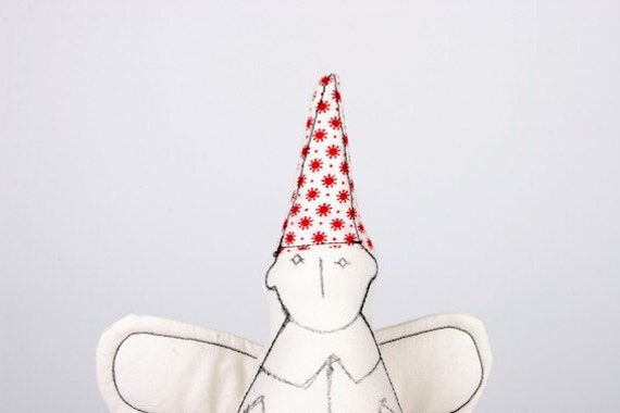 Cupid - Black & White Guardian Angel In a red  Stars ha t- handmade fabric doll