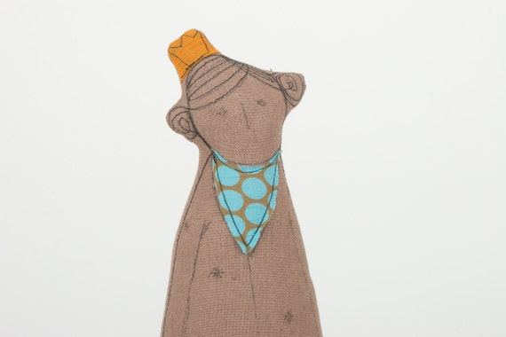 African princess or queen With  Orange crown Wearing Dotted Turquoise  scarf - handmade fabric doll