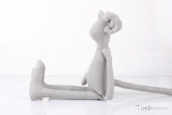 Plush - Light Grey Checkered Friendly Mouse Handmade fabric doll