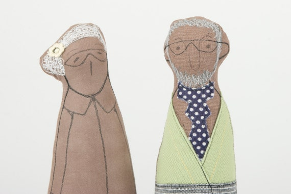 Valentine lovers  - african Grandpa and Grandma Dressed in Green jacket, Jens pants ,linen skirt  glasses and tie  -handmade fabric doll