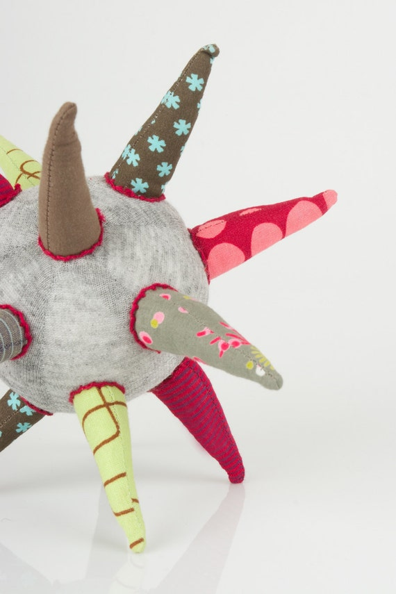 Spring Star -  funky  gray ball or Star all handmade in  Burgundy, green, brown, blue  striped Floral & polka dots - eco design