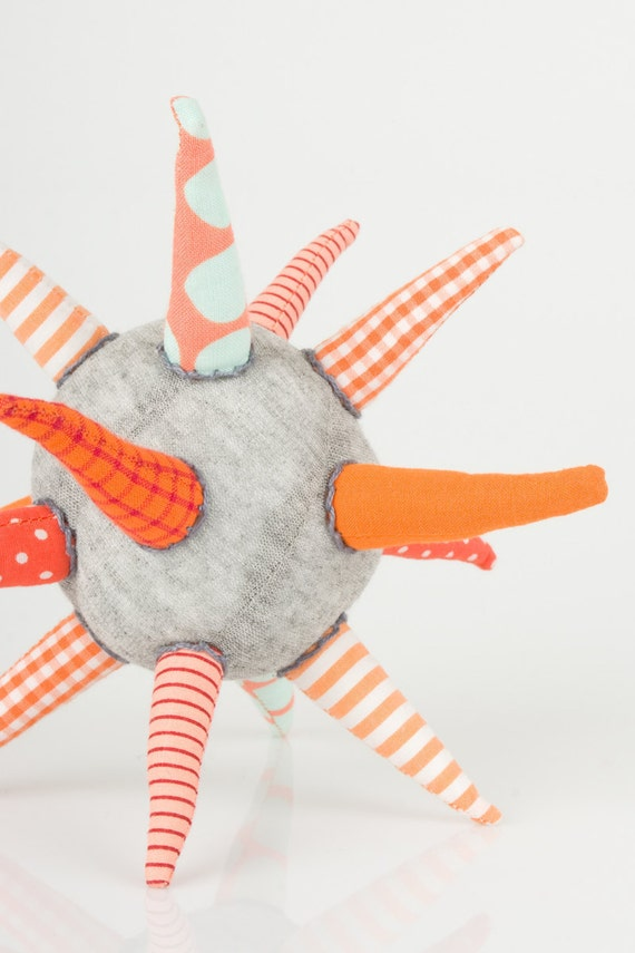 teething toy -  light gray ball or Star in , orange , Floral striped & points handmade eco design toy