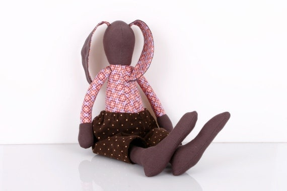 brown Bunny - Plush Rabbit  doll -  Wearing Checkered Pink and Purple Retro shirt and   Brown dotted  Corduroy, handmade cloth doll