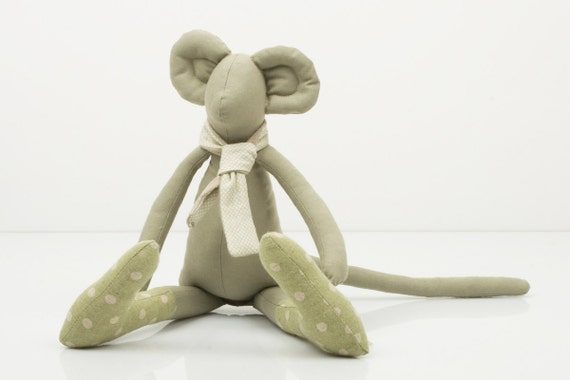 City Mouse - Khaki Greenish Mouse Wearing Canvas Green dotted socks and  a  light beige scarf -handmade fabric doll