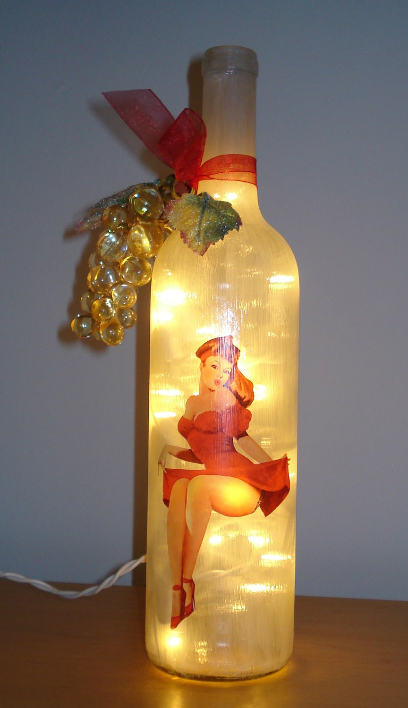 Sexy Pin Up Girl Wine Bottle Decor Light