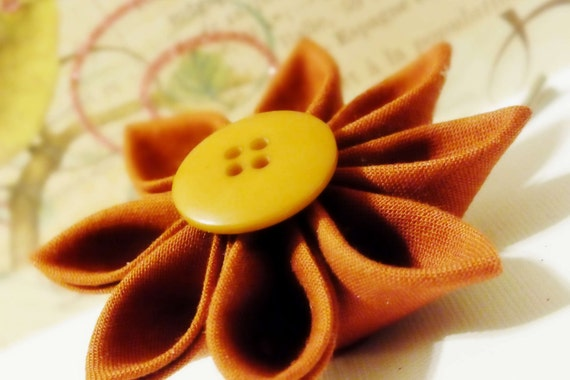 Kanzashi Copper Fabric Flower Bobby Pin with Tan Button Accent