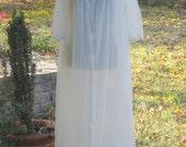 60s peignoir, off white, cream, long, Mad man