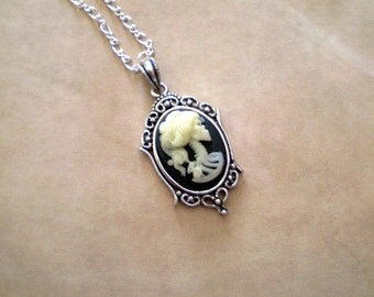 Gothic Ivory Lolita Skeleton Cameo Necklace - Small
