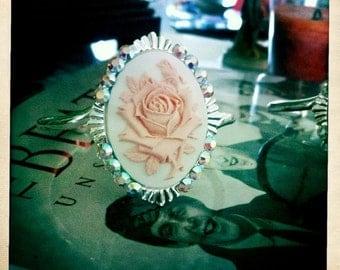 Gothic Pink Rose Silhouette Cameo Swarovski Cuff Bracelet