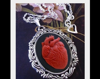 Anatomical Heart Necklace - Red Black Cameo