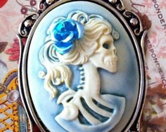 Gothic Hazy Blue Lolita Skeleton Cameo Necklace - Victorian Zombie