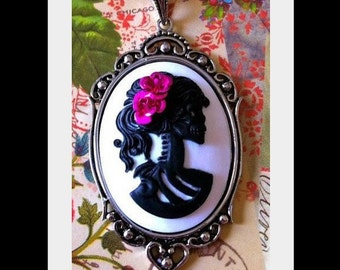 Lolita Skull Cameo Necklace - Victorian Black Zombie Lady